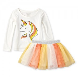 Baby And Toddler Girls Long Sleeve Halloween Unicorn Top And Glitter Woven Skirt Set