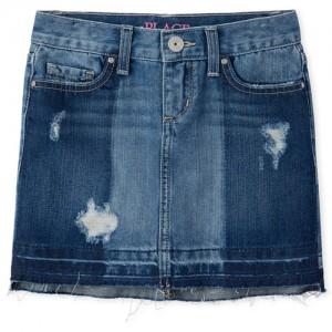 Girls Let Down Hem Distressed Denim Skirt