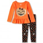 Baby And Toddler Girls Long Sleeve Glitter Pumpkin Peplum Top And Halloween Print Leggings Set