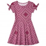 Girls Short Sleeve Diamond Print Knit Dress