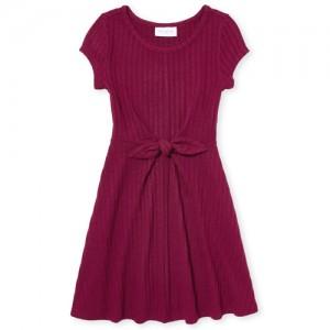 Girls Short Sleeve Lightweight Sweater Tie Front Dress
