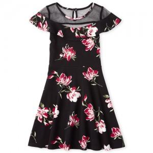 Girls Mesh Floral Dress