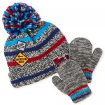 Toddler Boys Road Work Pom Pom Beanie And Mittens Set
