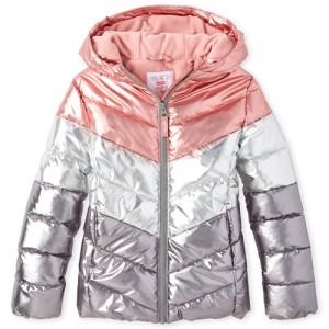 Girls Colorblock Metallic Puffer Jacket