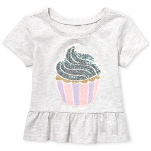 Baby And Toddler Girls Short Sleeve Embellished Graphic Peplum Top