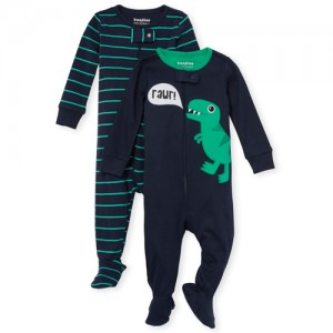 Baby And Toddler Boys Long Sleeve Dino Snug Fit Cotton Footed One Piece Pajamas 2-Pack