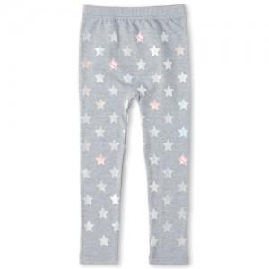Girls Foil Star Fleece Lined Leggings