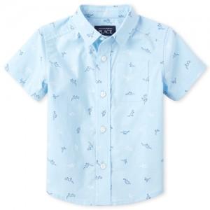 Baby And Toddler Boys Short Sleeve Dino Print Poplin Button Down Shirt