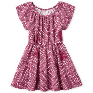 Baby And Toddler Girls Short Flutter Sleeve Diamond Print Knit Dress
