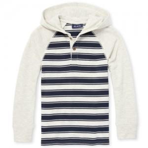 Boys Long Raglan Sleeve Striped Hoodie Top
