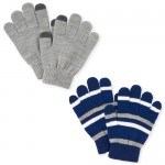 Boys Striped Texting Gloves 2-Pack