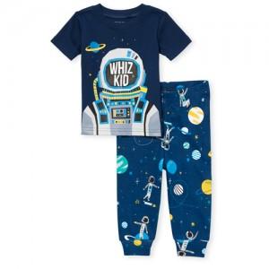Baby And Toddler Boys Short Sleeve 'Whiz Kid' Astronaut Snug Fit Cotton Pajamas