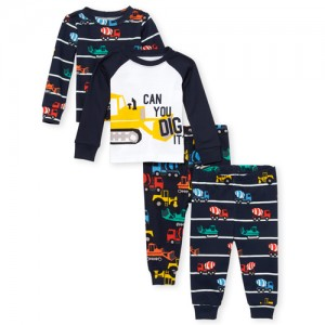 Baby And Toddler Boys Construction Snug Fit Cotton 4-Piece Pajamas