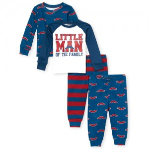 Baby And Toddler Boys 'Little Man' Mustache Snug Fit Cotton 4-Piece Pajamas