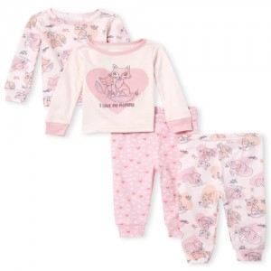 Baby And Toddler Girls Fox Snug Fit Cotton 4-Piece Pajamas