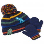 Toddler Boys Dino Striped Pom Pom Beanie And Mittens Set