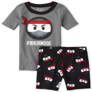 Boys Short Sleeve 'Hashtag Ninja Mode' Snug Fit Cotton Pajamas
