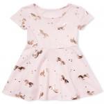 Baby And Toddler Girls Short Sleeve Foil Unicorn Print Knit Dress
