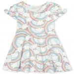 Baby And Toddler Girls Short Tie Sleeve Rainbow Print Knit Dress