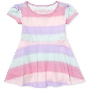 Baby And Toddler Girls Short Sleeve Striped Knit Dress