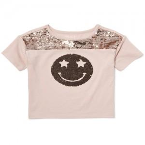 Girls Short Sleeve Flip Sequin Smiley Face Graphic Top