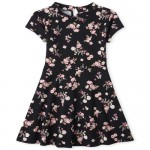 Girls Short Sleeve Floral Print Knit Dress