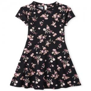 Girls Short Sleeve Floral Print Knit Dress
