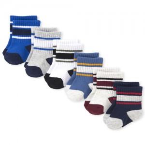 Baby Boys Striped Crew Socks 6-Pack