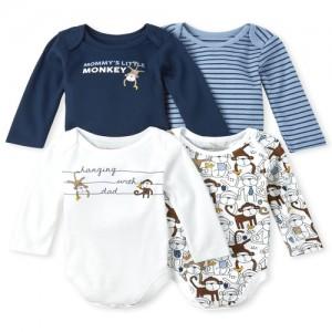 Baby Boys Long Sleeve Monkey Bodysuit 4-Pack
