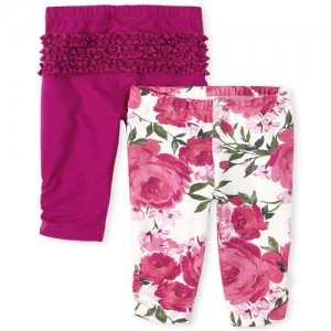 Baby Girls Floral And Solid Knit Pants 2-Pack