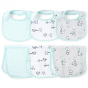 Unisex Baby Flying Elephant Bib And Burp Cloth 6-Piece Set