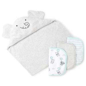 Unisex Baby Flying Elephant Bath Towel And Wash Cloth 4-Piece Set