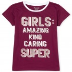 Girls Short Sleeve Glitter 'Girls' Graphic Tee