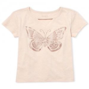 Girls Short Sleeve Glitter Butterfly Cut Out Graphic Tee