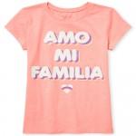 Girls Short Sleeve Glitter 'Amo Mi Familia' Graphic Tee