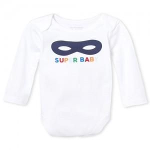 Baby Boys Long Sleeve 'Super Baby' Mask Graphic Bodysuit