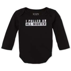 Unisex Baby Long Sleeve 'I Pulled An All Nighter' Graphic Bodysuit