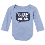 Baby Boys Long Sleeve 'Sleep Is For The Weak' Graphic Bodysuit