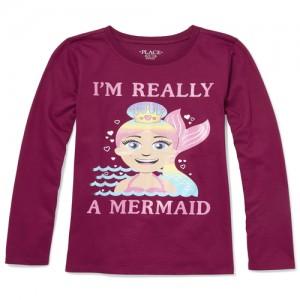 Girls Long Sleeve Glitter 'I'm Really A Mermaid' Graphic Tee