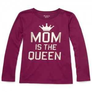 Girls Long Sleeve Foil 'Mom Is The Queen' Graphic Tee