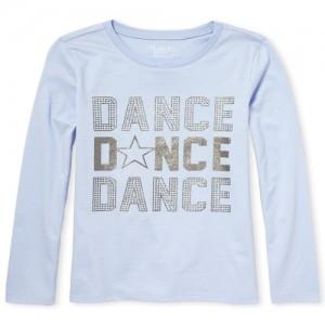 Girls Long Sleeve Glitter 'Dance' Graphic Tee