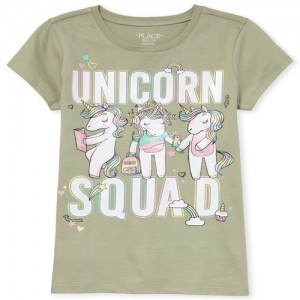 Girls Short Sleeve Glitter Rainbow 'Unicorn Squad' Graphic Tee