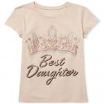 Girls Short Sleeve Glitter 'Best Daughter' Crown Graphic Tee