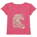 Girls Short Sleeve Glitter 'Unicorn Power' Cut Out Graphic Tee