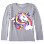 Girls Glitter Unicorn Rainbow Graphic Tee