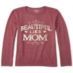Girls Foil Beautiful Like Mom Graphic Tee