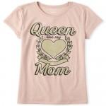 Girls Glitter Queen Mom Graphic Tee
