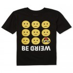 Boys Short Sleeve 'Be Weird' Emoji Graphic Tee