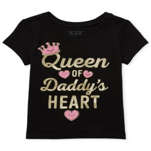 Baby And Toddler Girls Short Sleeve Glitter 'Queen Of Daddy's Heart' Graphic Tee