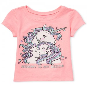 Baby And Toddler Girls Short Sleeve Glitter 'Mommy Is My Bestie' Unicorn Graphic Tee